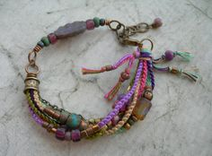 Boho Spring Beadwork Bracelet Beaded Macrame by BlueQuailDesign, $40.00