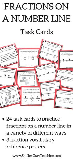 "Number lines are one of the most important tools to use for teaching fractions. Number lines help students see fractions as real numbers, rather than simply ""pieces of pizza."" This set of task cards includes 24 cards to practice fractions on a number line in a variety of different ways."