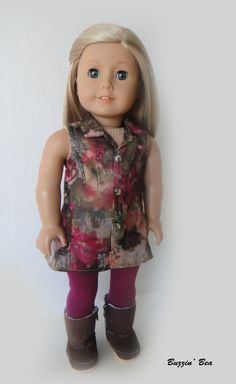 Silk Sleeveless Button Up Tunic and Raspberry Leggings - American Girl Doll Clothes
