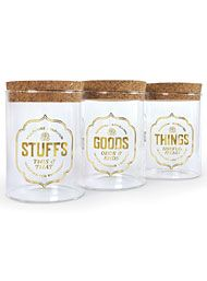 New Arrivals - Apothecary Stashed Storage Jars Set by Fred & Friends Home Decor