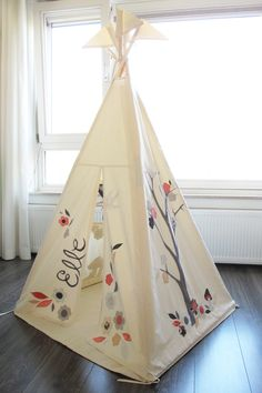 Marvelous Pictures Of Kid Teepee Design For Kid Play Room Decoration: Interesting Kid Play Room And Home Interior Design Ideas Using Girl Flowery White Kid Teepee Along With Plain White Curtain And Light Walnut Wood Flooring ~ coolhousez.net Accessories Inspiration