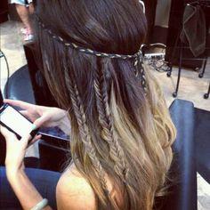 fish tail dip dye bohemian style hair