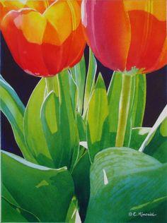 Two Tulips  Elizabeth Kincaid Watercolors