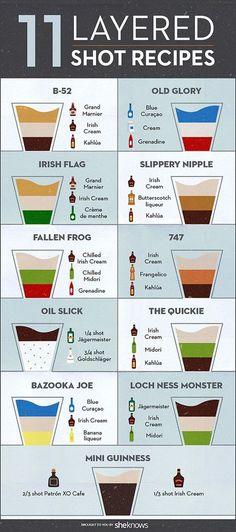 How To Pour Layered Cocktails - {Wine Glass Writer} -.- Wie man geschichtete Cocktails gießt – {Weinglasverfasser} – Diy Dekoration How To Pour Layered Cocktails – {Wine Glass Writer} – # pours - Bar Drinks, Beverages, Layered Shots, Layered Cocktails, Cocktail Shots, Cocktail List, Alcohol Drink Recipes, Alcohol Shots, Bartender Recipes