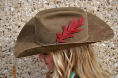 Small Red Glitter Hat Feather