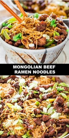 The World's Most Delicious Mongolian Beef Ramen Noodles Mongolian Beef Ramen Noodles - a copycat recipe of the popular PF Chang's Mongolian Beef with green peppers and ramen noodles. So simple to make and so delicious, you'll want to forget about takeout! Best Vegan Recipes, Popular Recipes, Healthy Recipes, Mongolian Beef Recipes, Mongolian Beef Noodles Recipe, Mongolian Chicken, Delicious Dinner Recipes, Appetizer Recipes, Delicious Food