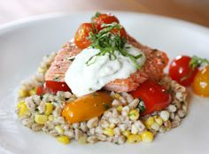 Slow Roasted Salmon with Cherry Tomatoes and Farro (see bon appetite recipe for Salmon)