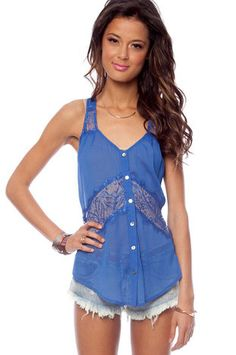 Lacerback Button Down Shirt in Blue $23 at www.tobi.com