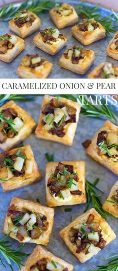 Caramelized Onion and Pear Tart Easy Appetizer Fancy Party Food Fancy Appetizers, Finger Food Appetizers, Appetizer Recipes, Appetizer Party, Christmas Cocktail Party Appetizers, Easy Finger Food, Finger Foods For Parties, Finger Food Recipes, Christmas Party Finger Foods