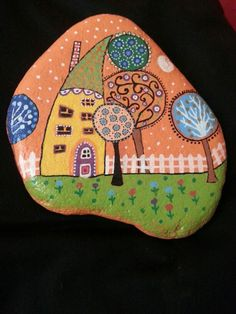 #stone#painting#first#house#trees