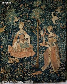 1500 (approx) - Tapestry of the scenes of Court: gentlewoman embroidering - Cluny museum Medieval Tapestry, Medieval Art, Renaissance, 16th Century Clothing, Art Chinois, Art Japonais, Book Of Hours, Ancient Art, Middle Ages