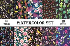 10 Floral Patterns Watercolor Set by Lembrik's Artworks on @creativemarket