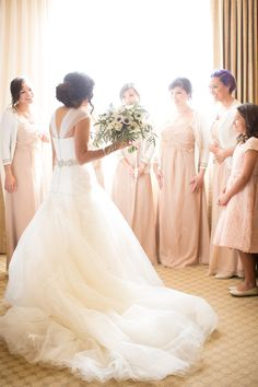 Bridesmaids Dresses from Bella Bridesmaid | Wedding Gown: Enzoani | Beautiful wedding on Style Me Pretty:  http://www.StyleMePretty.com/southwest-weddings/2014/03/17/traditional-las-vegas-wedding/ J. Anne Photography
