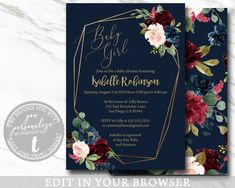 EDITABLE Invitation, Girl Baby Shower Invitation, Floral Navy Burgundy Printable Baby Shower Template, Modern, PDF, BABY100 Baby Girl Shower Themes, Girl Themes, Baby Shower Invites For Girl, Baby Shower Invitations, Baby Shower Templates, Baby Shower Printables, Navy Baby Showers, Baby Shower Announcement, Etsy Cards