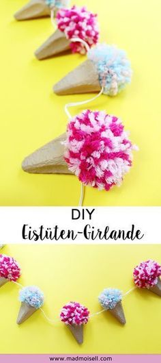 DIY Eistüten-Girlande aus Eierkartons und Pompoms basteln Tinker DIY ice cream cone garland from egg boxes and pompoms: The ingenious thing about my garland DIY: You can use old egg boxes for th Upcycled Crafts, Kids Crafts, Diy And Crafts, Craft Projects, Decor Crafts, Stick Crafts, Simple Crafts, Nature Crafts, Preschool Crafts
