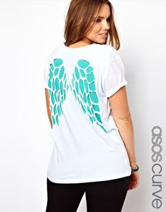 ASOS CURVE T-Shirt with Cut Wings  Look divine in this angel winged tee