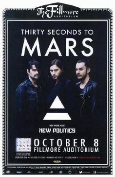 Concert poster for Thirty Seconds to Mars at The Fillmore Auditorium in Denver, CO in 2013.  11x17 inches on card stock.