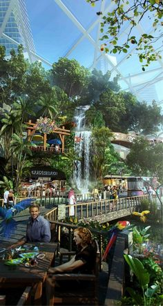 Dubai Plans Mall of the World, the First Ever 'Temperature Controlled City',Indoor Parks. Image Courtesy of Dubai Holding Dubai Mall, Futuristic City, Futuristic Architecture, Resorts, Naher Osten, Thinking Day, Future City, Fantasy Landscape, United Arab Emirates