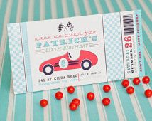 Vintage Race Car Speedway Automobile Indy Birthday Party - Aqua Red, Yellow Black or Pink Red - Printable Customized 4x8 Invitation