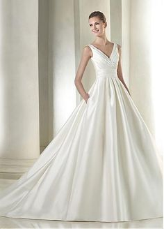Elegant Satin V-neck Neckline Natural Waistline A-line Wedding Dress