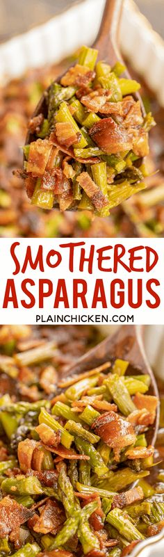 Smothered Asparagus - SO good! Only 6 ingredients! Fresh asparagus baked in bacon, brown sugar, butter, soy sauce and garlic. Baked Asparagus, Fresh Asparagus, Asparagus Recipe, Saute Asparagus, Milk Recipes, Great Recipes, Cooking Recipes, Favorite Recipes, Healthy Recipes