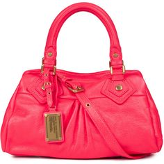 Marc By Marc Jacobs Q Baby Groove Grained Leather Tote ($450) ❤ liked on Polyvore featuring bags, handbags, tote bags, pink, red purse, zippered tote, red tote, pink handbags and handbags totes