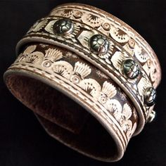Custom tooled Leather cuff Shabby Chic Cowboy Rock by mataradesign, $250.00