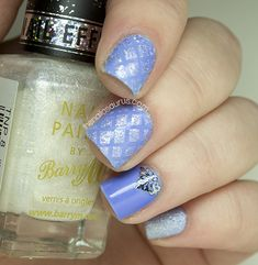 Baby Blue Quilted Nail Art