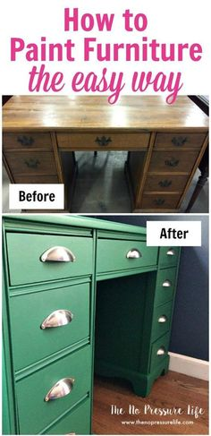 I finally learned how to paint furniture easily and pretty quickly! You'll get great tips for painting furniture with chalk paint with this DIY green desk makeover. Come check out the before and after results and get ideas for your own furniture transform