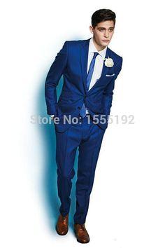 Pas cher Tendance mode nouveau Style italie bleu Royal Custom Made men Suit One Button Groom SuitsJacket + pantalons Pageant Party, Acheter  Costumes de qualité directement des fournisseurs de Chine:   Bienvenue à mon magasin aliza327.             Type de conseil: le type de taille (tour de taille <buste) article n