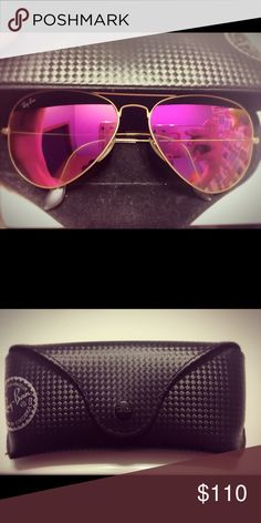 Pink Ray Ban aviator sunglasses As new only wore these a few times. Ray-Ban Accessories Glasses