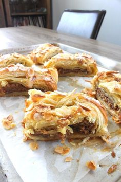 This easy almond puff pastry is flaky and delicious. It's filled with homemade almond paste which comes together easily in a food processor. We show you how to braid the pastry to get that fancy… Almond Puff Pastry Recipe, Sweet Puff Pastry Recipes, Kringle Recipe Almond, Almond Danish Recipe, Desserts With Puff Pastry, Easy Pastry Recipes, Pastries Recipes, Homemade Pastries, Tart Recipes