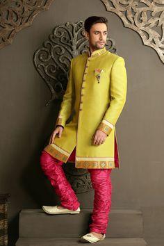 Neon #Green silk & brocade weaved straight cut #sherwani -SH136 from Samyakk's 2015 #wedding collection.