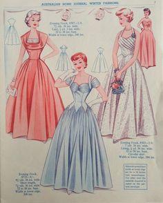 Australian Home Journal evening gown illustrations.