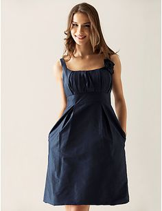 Sheath/ Column Scoop Knee-length Taffeta Ruffles Bridesmaid/ Wedding Party Dress  $87