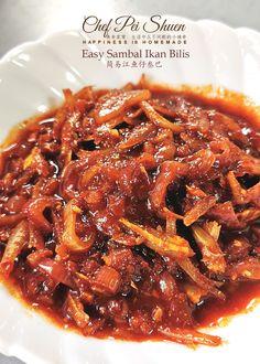 Easy Sambal Ikan Bilis 简易江鱼仔叁巴 – Happiness is Homemade Nasi Lemak Sambal Recipe, Sambal Sauce Recipe, Indonesian Sambal Recipe, Satay Recipe, Indonesian Food, Anchovy Recipes, Chilli Recipes, Malaysian Cuisine, Malaysian Food
