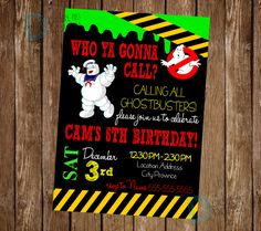 Ghostbusters birthday invitation - Ghostbusters Birthday - Ghost Busters Birthday Party - Ghostbusters Invite *** Digital File Only *** by DigitalArtDesignsByB on Etsy
