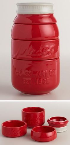 A new addition to your vintage inspired kitchen and when you stack the cups, it completely looks like a red mason jar that would be cute for a countertop display. The measurements of the cups are 1, 1/2, 1/3 and 1/4 cup and the cups are dishwasher safe. Price $22.19