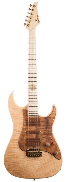 The Flame Maple Standard features a 1 piece chambered Flame Maple body set off with a gorgeous figured koa pickguard. A clear gloss finish was selected to display the incredible figuring of this body wood. The Even C Slim 5A Birdseye Maple neck and fingerboard features the Suhr 2015 Collection appointments: brass ring dot position inlays, solid brass side dots, and 24K Gold Plated raised inlay logo and Maple leaf DNA inlay.