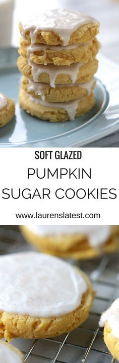 Soft Glazed Pumpkin Sugar Cookies