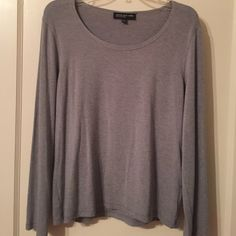Jones New York shirt Jones New York shirt, soft gray material, can wear a blouse underneath, worn a few times but in great condition.  Not my color. Jones New York Tops Tees - Long Sleeve