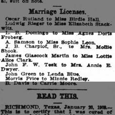 A Sampson Marriage Houston Post 12 Dec 1909 pg 56