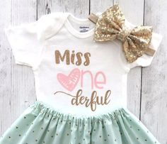 2b354e7c0 First Birthday Outfit for Baby Girl - Miss One derful birthday outfit, mint  pink and gold, heart bir