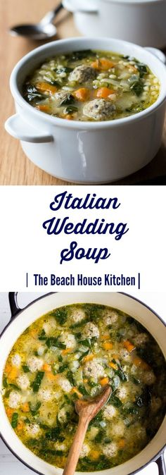 We're kind of a soup family in this house, and cannot wait until the cooler temps to start making them again. We're kind of a soup family in this house, and cannot wait until the cooler temps to start making them again. Italian Wedding Soup Recipe, Italian Soup, Italian Recipes, Wedding Soup Meatball Recipe, Meatball Soup, Italian Chicken, Best Soup Recipes, Healthy Recipes, Fast Recipes