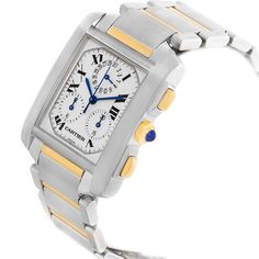 17506 Cartier Tank Francaise Steel 18K Yellow Gold Chrongraph Watch W51004Q4 SwissWatchExpo