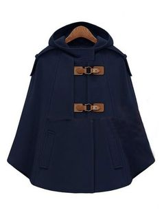 Navy Hooded Buckle Strap Pockets Cape Coat pictures