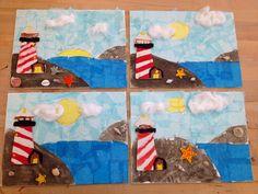 Lighthouse by the sea-canvas/sand/tissue paper/wooden lighthouse(art teacher: v. giannetto)