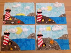 Lighthouse by the sea-canvas/sand/tissue paper/wooden lighthouse(art teacher: v. giannetto)