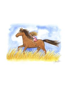 Free As The Wind Horse Girl - Wall art for Children's Rooms and Nurseries