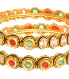 Buy Dazzling American Diamond Gold Designer Bangle (Openable). bangles-and-bracelet online
